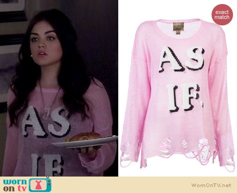 PLL Fashion: Wildfox AS IF sweater in pink worn by Lucy Hale