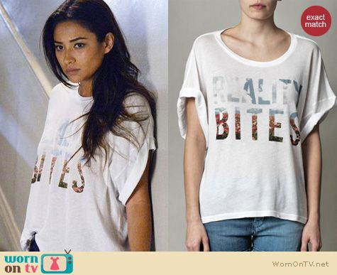 PLL Fashion: Wildfox Reality Bites tee worn by Shay Mitchell
