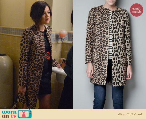 PLL Fashion: Zara leopard coat worn by Lucy Hale