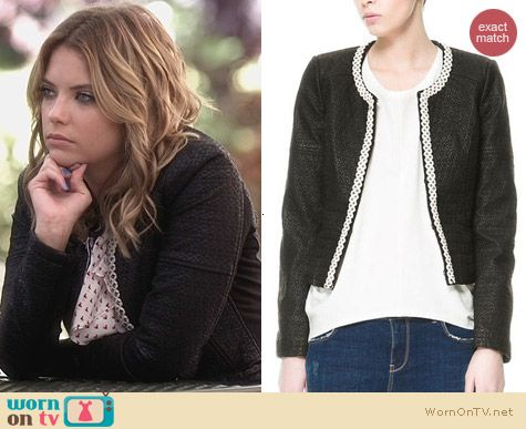 PLL Fashion: Zara Multileather Jacket worn by Ashley Benson