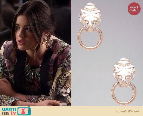 PLL Jewelry: Bebe Tiger Doorknocker earrings worn by Lucy Hale