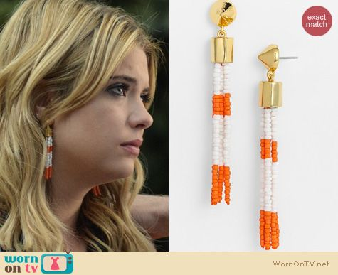 PLL Jewelry: Vince Camuto Rope Royalty Orange Tassel Earrings worn by Ashley Benson