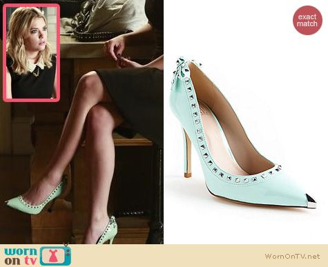 PLL Shoes: Truth or Dare by Madonna Floriku Mint studded heels worn by Ashley Benson