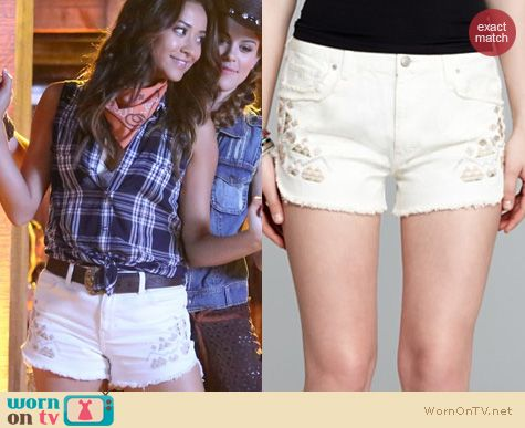PLL Style: Free People Tulum embroidered shorts worn by Shay Mitchell