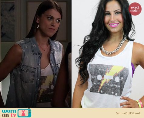 PLL Style: Junk Food Clothing AC/DC Cassette tank worn by Lindsey Shaw