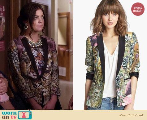 PLL Style: Maison Scotch Tropical Blazer worn by Lucy Hale