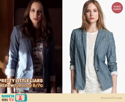 PLL Style: Marc by Marc Jacobs Corey Chambray Blazer worn by Troian Bellisario