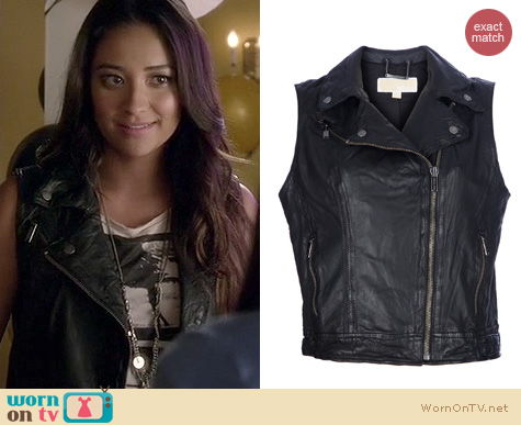 PLL Style: Michael Kors Leather Biker vest/gilet worn by Shay Mitchell