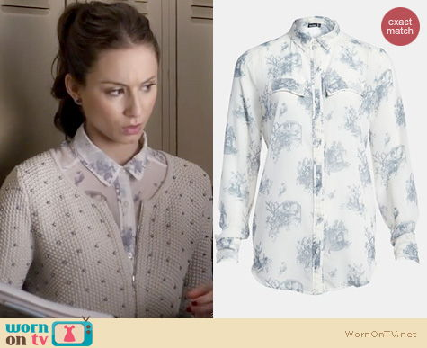 PLL Style: Tildon sheer print top worn by Troian Bellisario