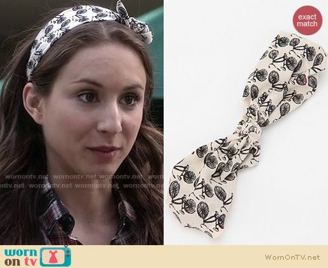 PLL Style: Urban Outfitters Kerchief Headwrap in bicycle print worn by Troian Bellisario