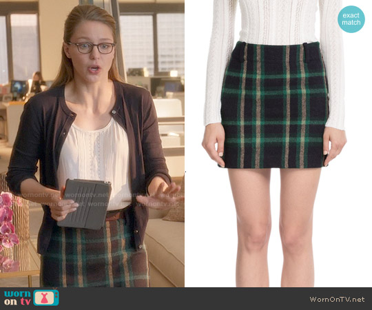 Polo Ralph Lauren Wool-Alpaca Tartan Skirt worn by Melissa Benoist on Supergirl