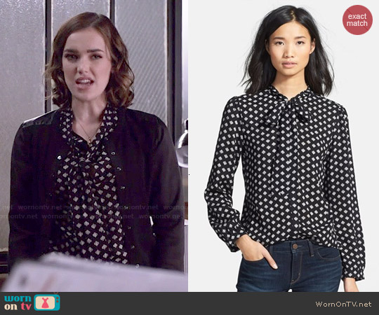 Porridge Tie Neck Top in Black Neutral Spades worn by Elizabeth Henstridge on Agents of SHIELD