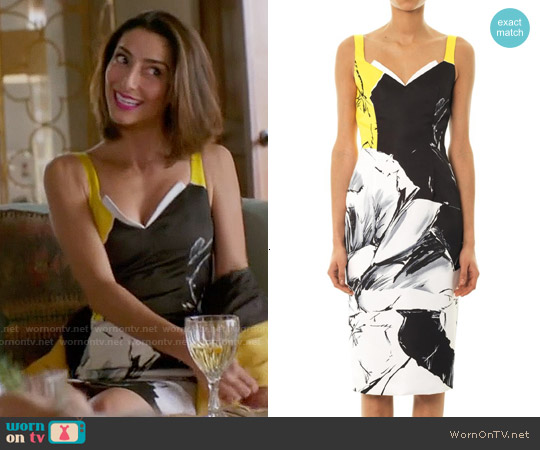 Prabal Gurung Classic Rose Print Fitted Dress worn by Necar Zadegan on GG2D