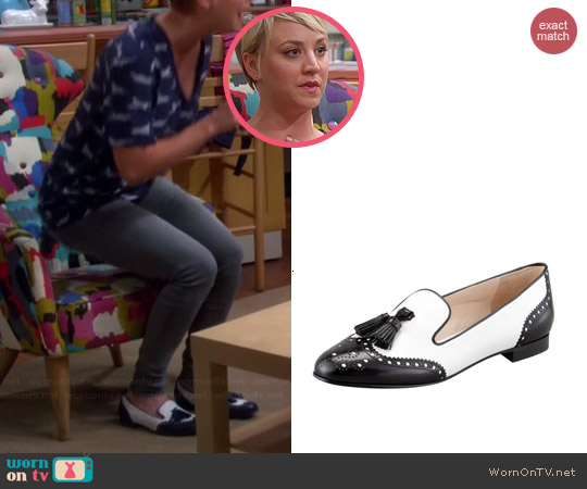Prada Spazzolato Wingtip Tassel Loafer worn by Kaley Cuoco on The Big Bang Theory