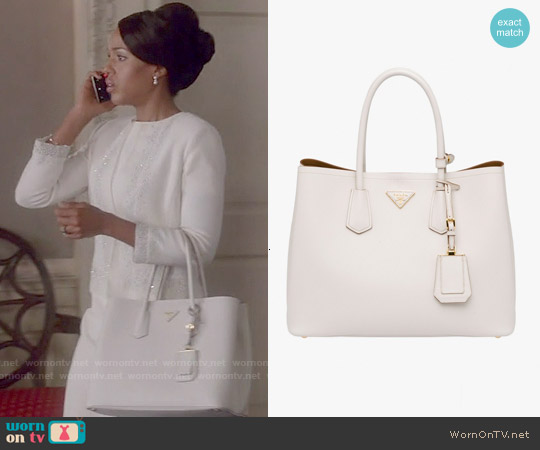 Prada Double Bag in Chalk worn by Olivia Pope on Scandal