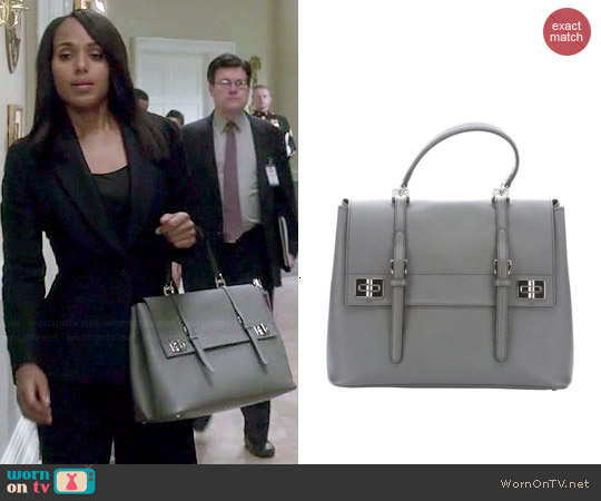 Prada Marble Grey Leather Buckle Detail Convertible Tote Bag worn by Kerry Washington on Scandal