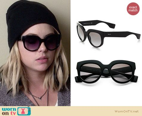 Prada Oversized Square Sunglasses worn by Ashley Benson on PLL