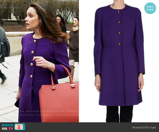 Prada Purple Coat with Gold Buttons worn by Italia Ricci on Designated Survivor