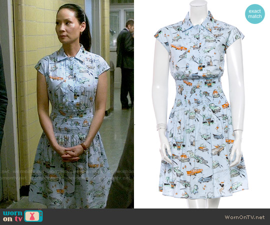 Prada SS12 Car Print Shirtdress worn by Lucy Liu on Elementary