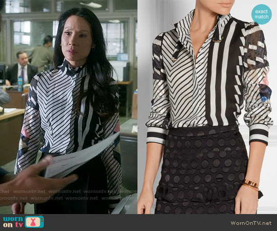 Preen by Thronton Bregrazzi 'Nita' Paneled Silk-jacquard, Chiffon and Fil Coupé Blouse worn by Lucy Liu on Elementary