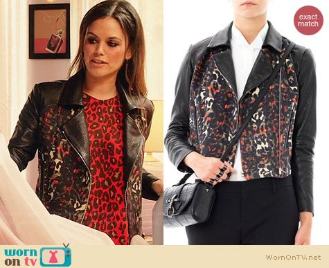 Preen Leather and Leopard/Tartan jacket worn by Rachel Bilson on Hart of Dixie