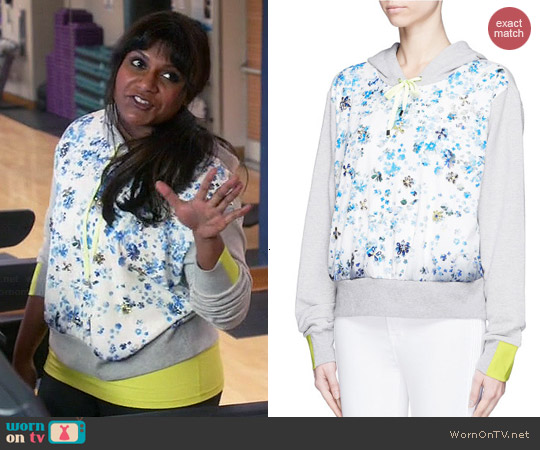 Preen by Thornton Bregazzi Floral Print Jewelled Front Hoodie worn by Mindy Kaling on The Mindy Project
