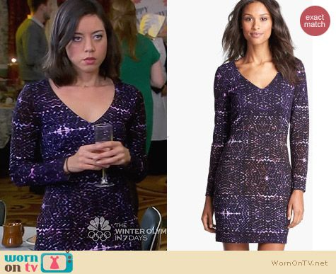 Presley Skye Printed Ponte Knit Dress worn by Aubrey Plaza on Parks & Rec