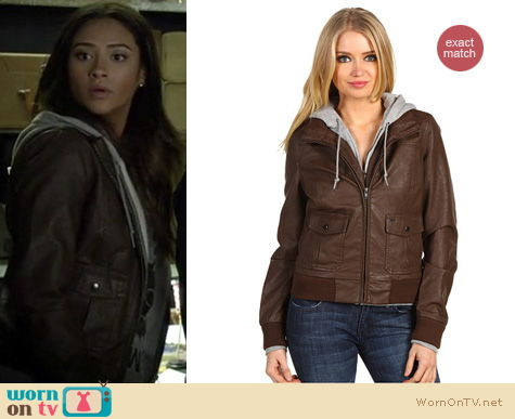 Pretty Little Liars Fashion: Brown bomber jacket by Obey worn by Shay Mitchell