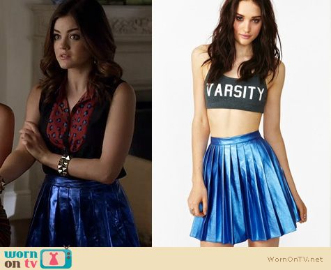Pretty Little Liars Fashion: Blue metallic foil pleated skirt worn by Lucy Hale