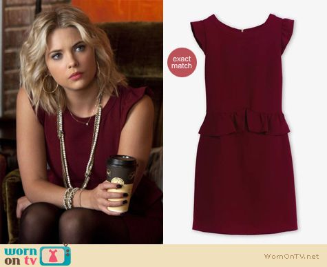 Pretty Little Liars Fashion: Oxblood peplum dress by Sandro worn by Ashley Benson