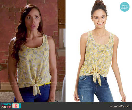 Pretty Rebellious Tie Front Tank Top worn by Dania Ramirez on Devious Maids