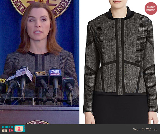 Etro Prince of Wales Tweed Jacket worn by Julianna Margulies on The Good Wife
