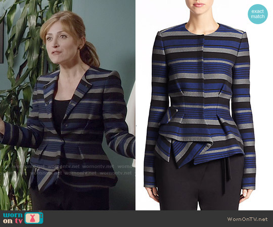 Proenza Schouler Striped Crepe Peplum Jacket worn by Sasha Alexander on Rizzoli & Isles