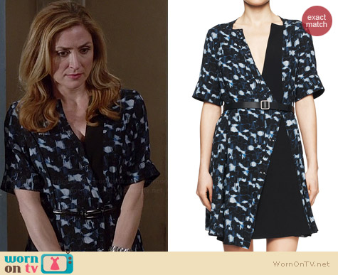 Proenza Schoulder Printed Belted Half-Sleeve Dress worn by Sasha Alexander on Rizzoli & Isles