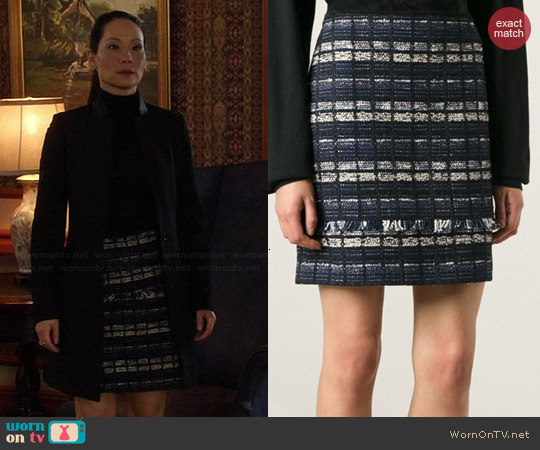 Proenza Schouler Boucle Panel Skirt worn by Lucy Liu on Elementary