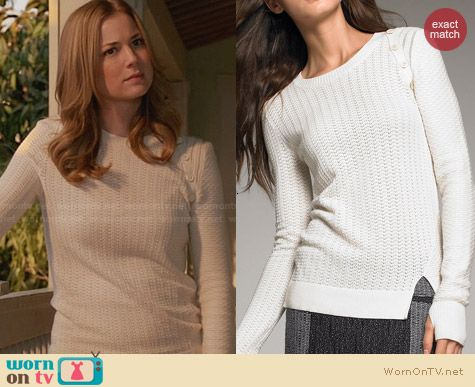 Proenza Schouler Button Shoulder Knit Sweater worn by Emily VanCamp on Revenge