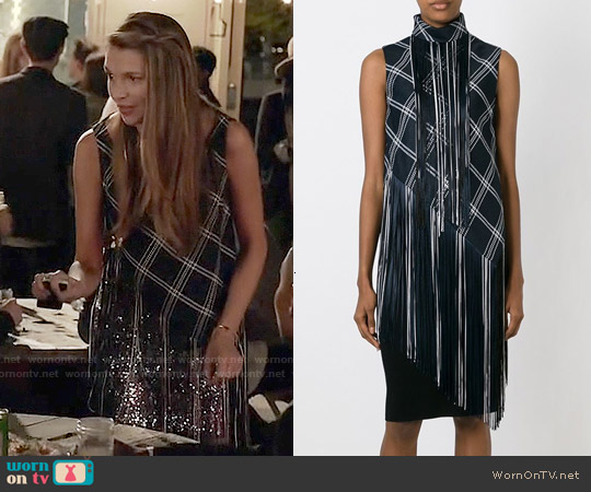Proenza Schouler Fringed Plaid Top worn by Sutton Foster on Younger