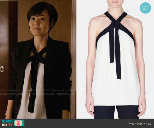 Proenza Schouler Bicolor Crepe Tie-Neck Halter Top worn by Yunjin Kim on Mistresses