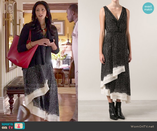 Proenza Schouler Layered Printed Dress worn by Reshma Shetty on Royal Pains