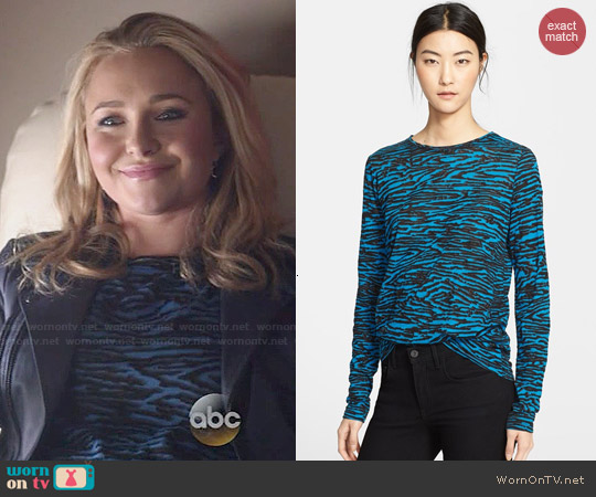 Proenza Schouler Teal Wood Grain Combo Print Tee worn by Hayden Panettiere on Nashville