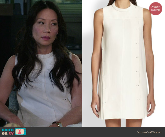 Proenza Schoulder Seamed Crepe Shift Dress worn by Lucy Liu on Elementary