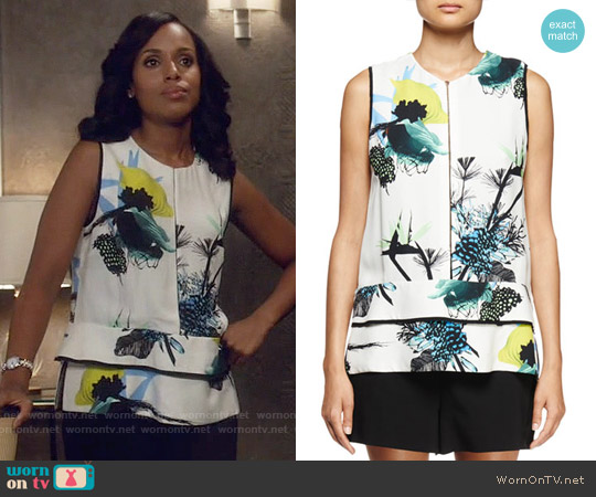 Proenza Schouler Sleeveless Ikebana Print Blouse worn by Kerry Washington on Scandal