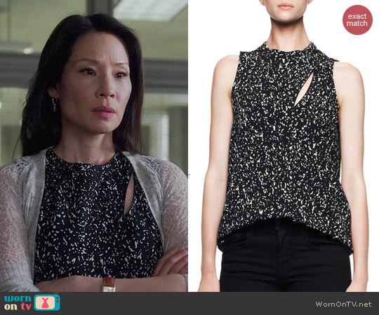 Proenza Schouler Sleeveless Printed Overlap Blouse worn by Lucy Liu on Elementary
