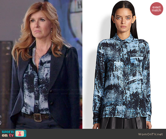 Proenza Schouler Spray-Print Silk Blouse worn by Connie Britton on Nashville