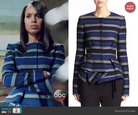 Proenza Schouler Striped Crepe Peplum Jacket worn by Kerry Washington on Scandal