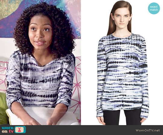 Proenza Schouler Tie Dye Tissue Jersey Long Sleeve Tee worn by Yara Shahidi on Blackish