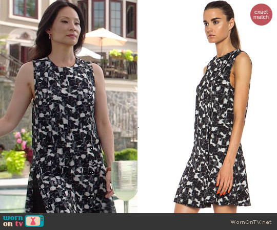 Proenza Schouler Cloud Printed Silk Dress worn by Joan Watson on Elementary
