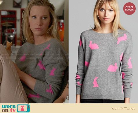 Quotation Bunny Sweater worn by Heather Morris on Glee