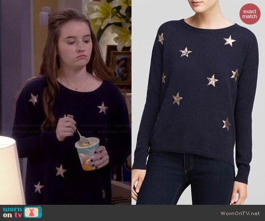 Quotation Leather Star Cashmere Sweater worn by Kaitlyn Dever on Last Man Standing