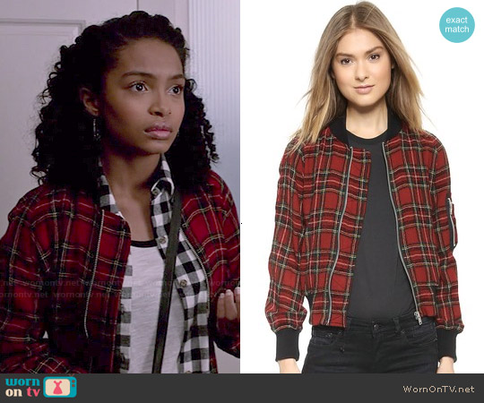 R13 Plaid Shrunken Flight Jacket worn by Yara Shahidi on Blackish
